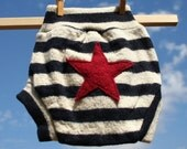 Recycled Wool Diaper Soaker Cover, Navy Stripe Star Squishy Tushies- Size Large