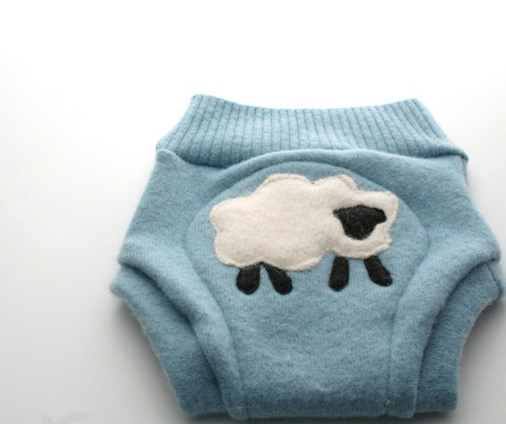 Recycled Wool Soaker Cover, Blue Lamb, Size Medium