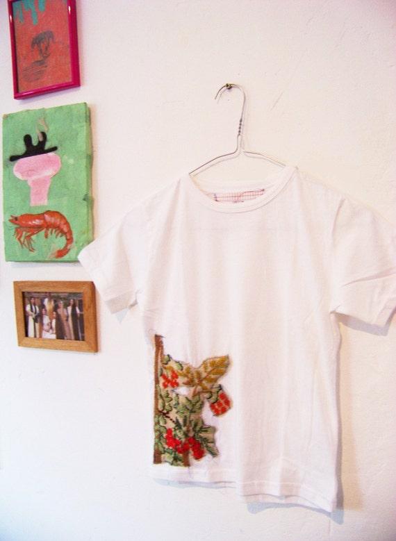 white t shirt with cross-stitch -autumn tree
