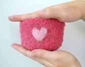 Valentine's Day Needle Felted Keepsake Bowl Ring Bowl Ring Dish Ring Holder, Hostess Gift, Housewares