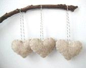 Valentine's Day Decor Oatmeal Heart Eco Felt Ornaments  Valentine's Day Ornaments Christmas Tree Ornaments Wedding Favors