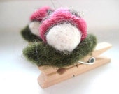 Needle Felted Ladybug Clothespin Magnets - 100% Natural Wool - Rustic - Natural