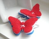 Fourth of July Felt Butterfly Hair Clips, Red White and Blue, American Flag Independence Day - Snap Clip - Hair Accessory