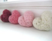 Valentine's Day Decor Rustic Pink Pastel Wool Needle Felted Heart Pebbles 100% Natural Wool Rustic Favors