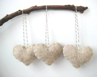 Valentine's Day Decor Oatmeal Heart Eco Felt Ornaments  Valentine's Day Ornaments Christmas Tree Ornaments Wedding Favors