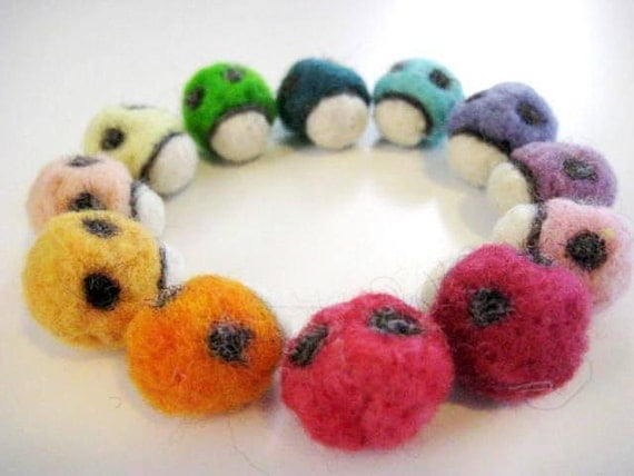 A Loveliness of Lady Bugs - 100% Natural Wool - Rustic - Natural