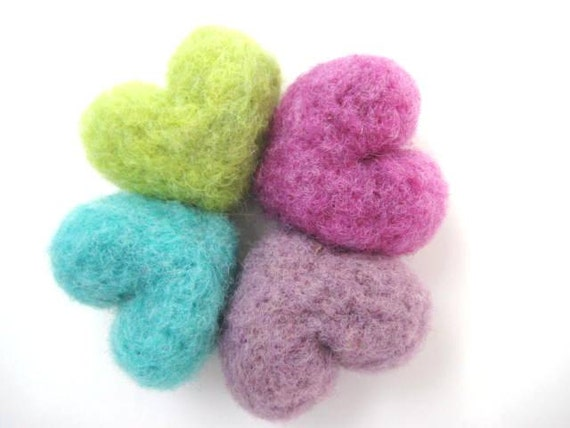 Heart Needle Felted Magnets - Set of Four - 100% Natural Wool - Rustic - Natural