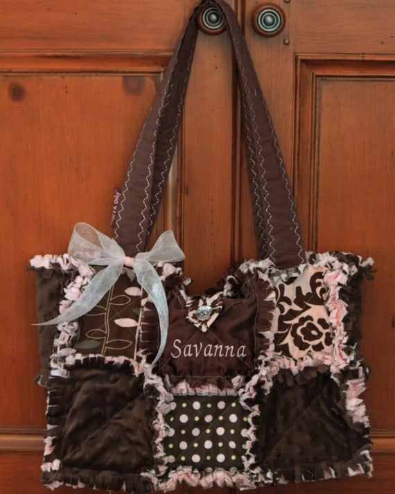 Custom Made Modern Chic Rag Quilted Diaper Bag Pink's and Brown's Handbag