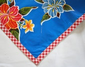 48 x 48 Oilcloth Tablecloth Hawaii Blue with Red Gingham Trim