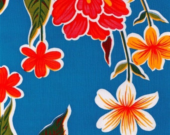 55 x55  Oilcloth Tablecloth Hawaii Blue with Red Gingham Trim Seamless