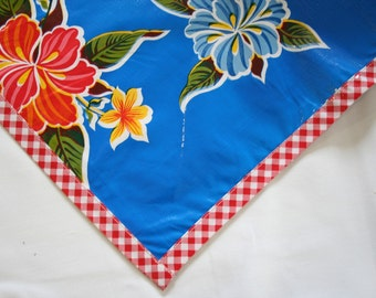Square Oilcloth Tablecloth Hawaii Blue with Red Gingham Trim