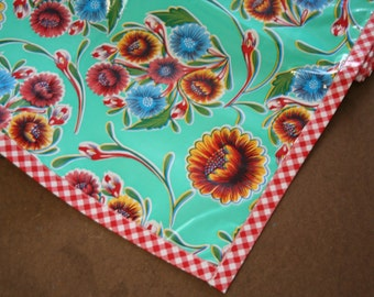 54x54 Bloom Aqua Tablecloth with Red Gingham Trim