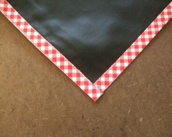 Rectangle Chalk Fabric Tablecloths with Red Gingham Trim