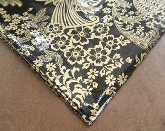 Rectangle Gold Toile on Black Oilcloth Tablecloths with a Simple Hem