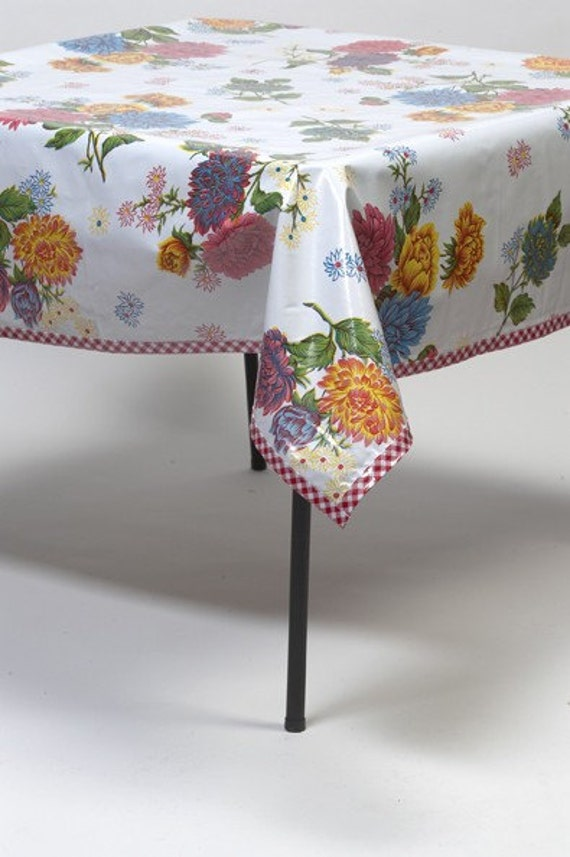 Square Oilcloth Tablecloth Mum White with Gingham Red Trim