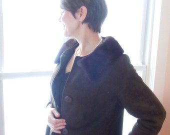 Jackie O  Coat with Mink Collar