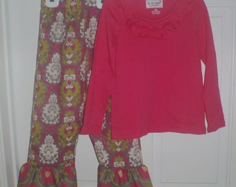 Boutique Girl 6 Pink and Gray Damask  Ruffle Pant Set