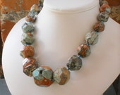 The Geo Blue Red Brown Picture Jasper Handknotted Necklace