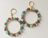 The Lavell Turquoise Squares Lavender Glass Polished Gold Vermiel Earrings