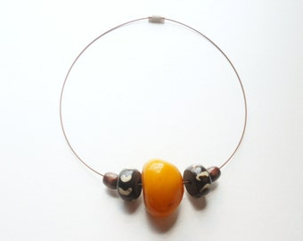The Maxwell Handmade Copal Amber Resin Batik Bone Wood Unisex Minimalist Necklace