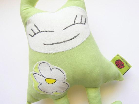 "Soft Doll Green and Yellow Dolly Pigoita, 10"" high"