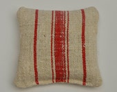 Vintage Grain Sack Lavender Sachet with Red Stripe