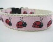 Hemp dog collar - Pink Lady Bug