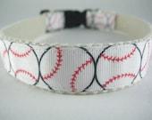 Hemp dog collar - Baseball