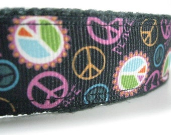 Hemp dog collar - Give Peace A Chance