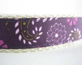 Hemp dog collar - Purple Paisley
