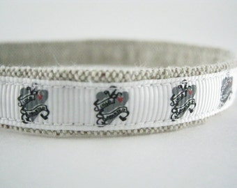 """Cold Hearted Tattoo organic cotton 1/2"""" collar"""