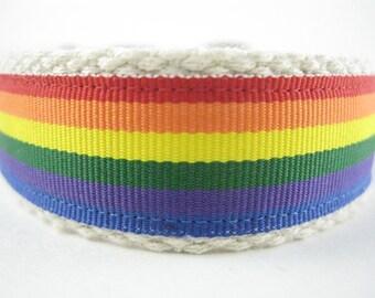 Hemp dog collar - Somewhere Over the Rainbow