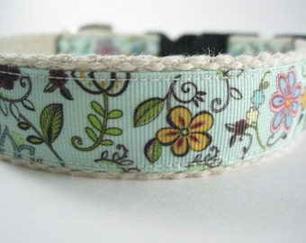 Hemp dog collar - Flowers & Vines