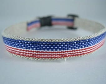 "American Flag Stars and Stripes organic cotton 1/2"" collar"
