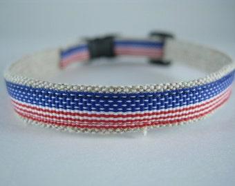 "American Flag Stars and Stripes organic cotton 1/2"" collar"