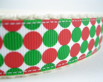 Hemp dog collar - Red and Green Dots - Winter or Christmas