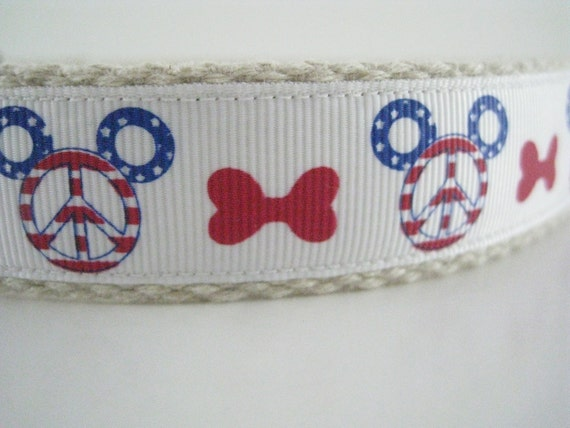 Mickey Mouse America Peace and Dog Bones hemp dog collar or leash