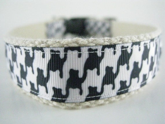 Hemp dog collar - Hounds Tooth Black and White
