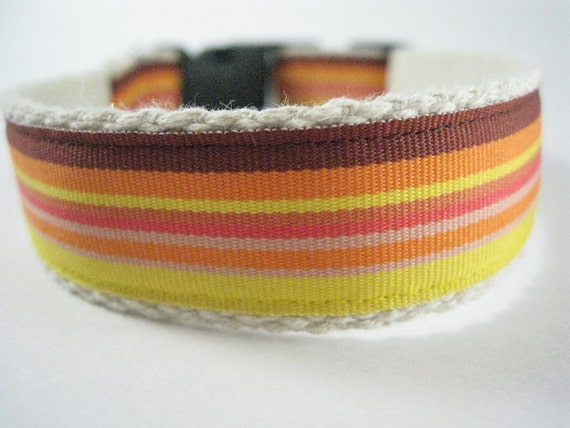 Hemp dog collar - Orange Yellow and Brown Stripes