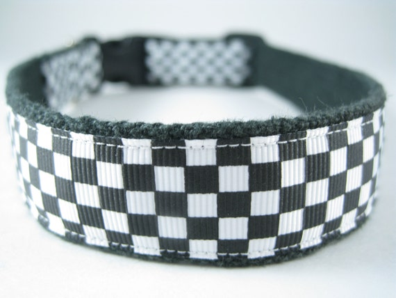 Hemp dog collar - Checkered Flag - NASCAR Indy Racing
