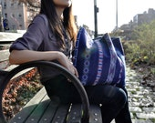 Hmong tribal tote in blue