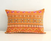 Mustard yellow hand stitched tribal cotton pillow cover 13 x 20