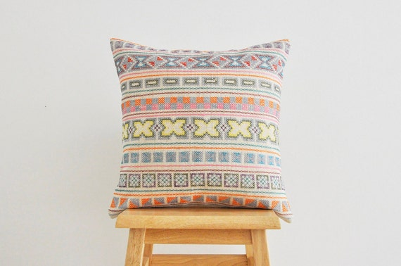 Pastels / cream Chiang Mai hand- stitched tribal cotton pillow cover