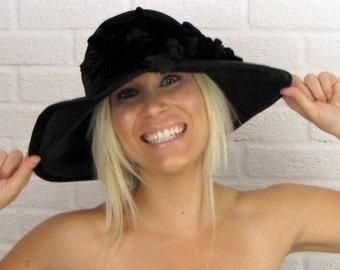 Vintage Black Wide Brim Fur Felt Designer Couture Hat