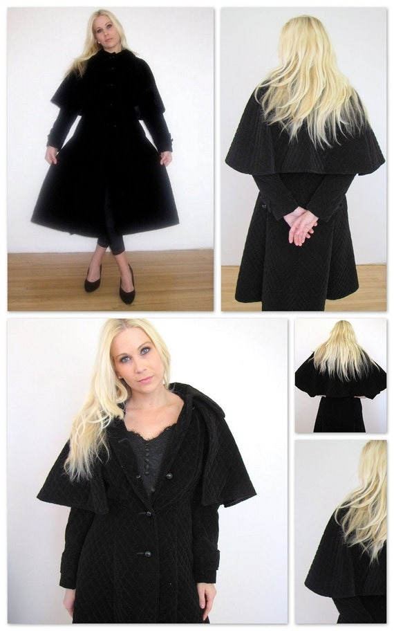 Vintage Black Velveteen Coat Quilted and has detachable cape