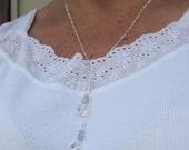 Swarovski Dice and Sterling Silver Figaro Chain Lariat Necklace