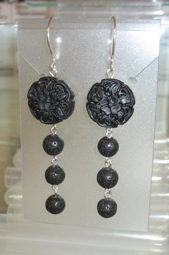 Black Cinnabar and Lava Stone Sterling Silver Earrings