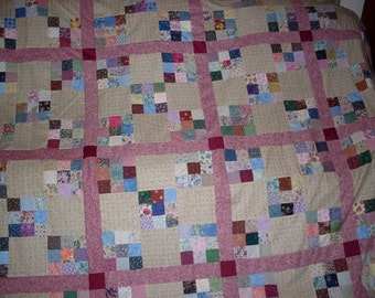 Free Shipping!  Double Nine Patch Mauve, Rose and Multi Colored Quilt top, back and bindings.  87 x 108 inches.