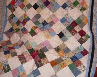 Free Shipping!  Giddy Walk of Four Patch Quilt Top, bindings and backing.  81 x 93 inches.