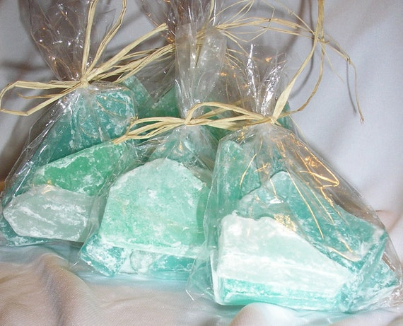 Items similar to beach favors sea glass soap ocean scent for Beach themed wedding favors